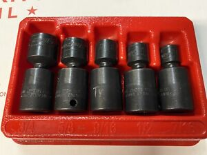 Snap On 205ipf 5 Piece 6 Point Impact Swivel Socket Set 7 16 To 3 4 W Tray