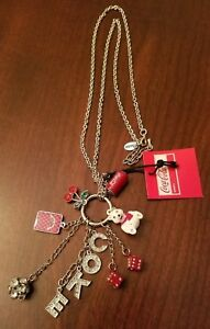 Las Vegas Coca-Cola Charm Necklace w/ COKE, Dice, Playing Card, Polar Bear Charm