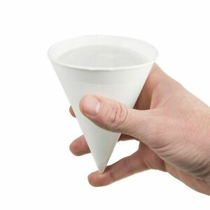 5000 Case Drinking Water Cup 4 Oz White Paper Snow Cone Disposable Rolled Rim