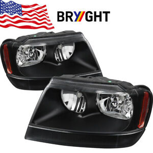 For 99 04 Jeep Grand Cherokee Black Amber Corner Replacement Headlights Lamps
