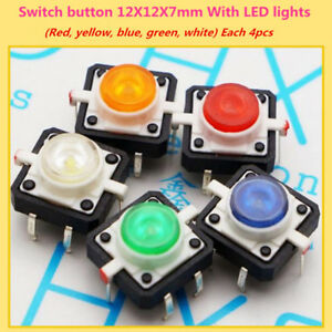 20 Pcs lot Tactile Push Button Switch Momentary Tact 12x12x7mm With Led Lights