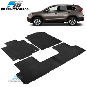 Fits 12 16 Honda Crv Sedan Front Rear Floor Mats Carpet Black Nylon 3pc Set