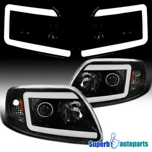 For 1997 2003 Ford F150 Expedition Polished Black Led Drl Projector Headlights