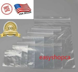 3x4x5x6x7x8x9x10x12x15x13x18 Clear Reclosable Plastic Ziplock Bags Poly Zipper