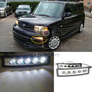 For 2003 2007 Scion Xb White Smd 5x Led Drl Black Smoked Fog Lights Lamps Pair
