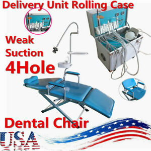 Dental Portable Delivery Unit Rolling Case W Weak Suction 4 Hole Folding Chair