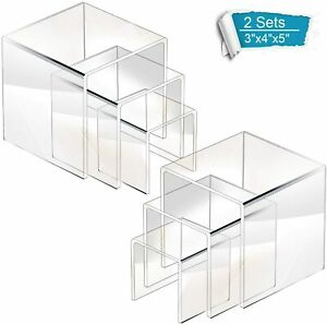 Goabroa Acrylic Display Risers Clear Square Stands Shelf For Display 2 Sets