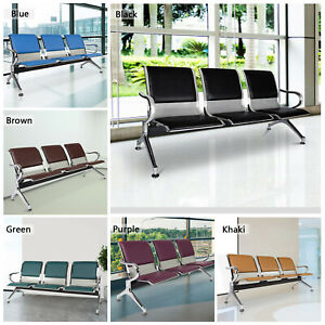 Pu Leather Waiting Room Chair Guest Reception Sofa Office Airport Bench 3 seat