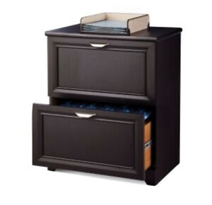 Office Depot 2 drawer Lateral Wooden Espresso Dark Brown Filing Cabinet