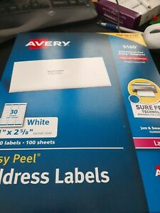 Avery 5160 Easy Peel White Laser Mailing Address Labels 1 X 2 5 8 3000 Label