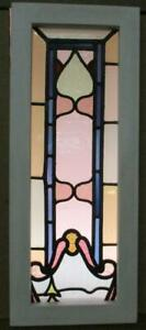 Victorian English Leaded Stained Glass Window Narrow Abstract 11 25 X 27 5