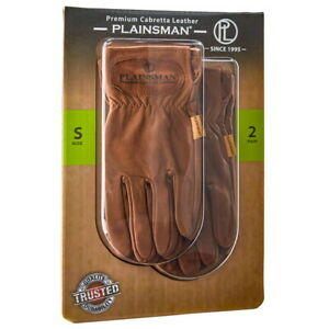 Plainsman Premium Cabretta Leather Work Gloves Brown S M L Xl 2 Pair Deal