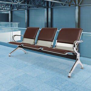 3 seat Waiting Room Chair Salon Airport Reception Sofa Seat Pu Leather Brown