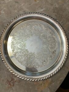 Vintage Wm Rogers Silver Plate Size 12 5 Serving Tray Style 471