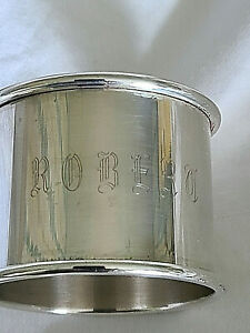 Towle Sterling Silver Napking Ring 1 1 4 Monogramed With Old English Robert