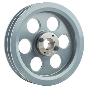 Cast Iron 8 75 2 Groove Dual Belt B Section 5l Pulley W 1 1 4 Sheave Bushing