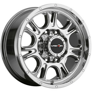 4 vision 399 Fury 17x8 5 8x6 5 18mm Chrome Wheels Rims 17 Inch