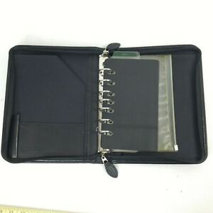 Day Timer Black Leather Full Zip Around Cover Organizer Binder 7 Rings 1 Inch