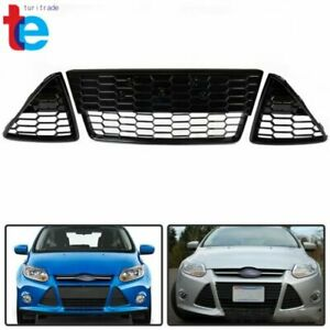 Honeycomb Front Bumper Lower Grille Grills 3pcs For Ford Focus 2012 2013 2014
