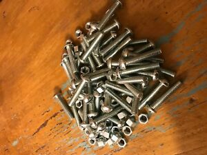Lot stove Bolts machine Screws Round Head 3 8 49 Count 2 Inches Long
