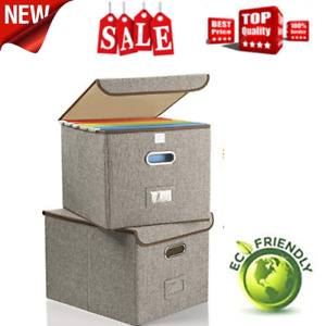 Collapsible File Box With Lid 2 pack Decorative Documents Storage Organizer