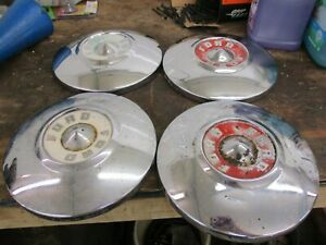 Vintage 50s Ford 1956 Hubcaps 10 1 2 Inch chrome Set Of 4 Poverty Dog Dish Oem