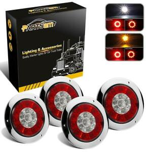 2xred amber 2xred white 16led 4 Stop Turn Tail Reverse Lights W stainless Bezel