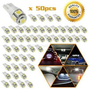 50x Xenon White Led T10 2825 168 158 Smd Wedge High Mount Stop Light Dome Bulbs