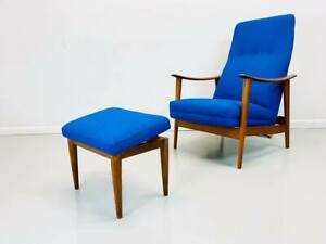Mid Century Scandinavian Modern Teak And Electric Blue Tweed Lounge Chair With M