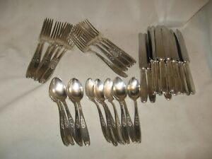 1847 Rogers Bros Vintage Silver Plate Silver Ware Flat Ware 36 Pieces