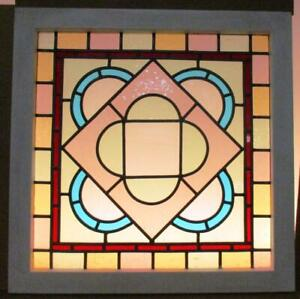 Victorian English Leaded Stained Glass Window Pretty Pastels 23 X 23 5
