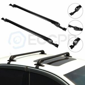 Rubber Roof Rack Cross Rail Bar Cargo For 43 3 Universal Black Cool Style 2pcs