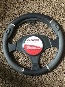 Autocraft Black Chrome Sport Steering Wheel Cover Fits Most Vehicles Ac39725b
