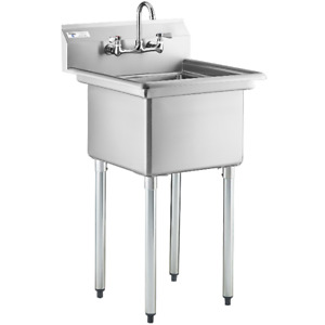 24 With Faucet Nsf 18 X 18 X 12 Bowl Stainless Steel Commercial Utility Sink