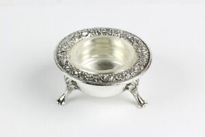 Vintage S Kirk Son Repousse Sterling Silver Salt Dip Cellar With Insert