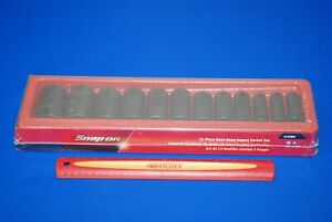 New Snap on 12 Pc 1 2 Drive 6 point Sae Flank Drive Semi deep Impact Socket Set