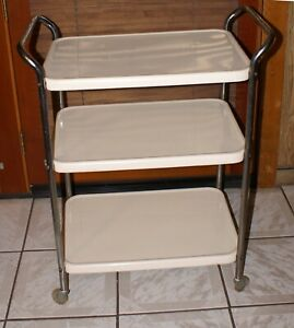 Vintage Cosco Utility Cart Metal Off White Cream Kitchen Handles Wheels Rails