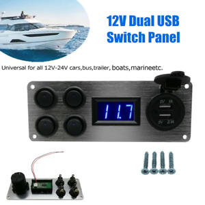 12v Dual Usb Switch Panel Voltmeter Car Charger Power Socket For Car Boat Yacht