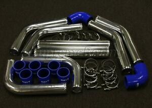 3 8pc Chrome Blue Aluminum Intercooler Piping Silicone Couplers Kit Universal