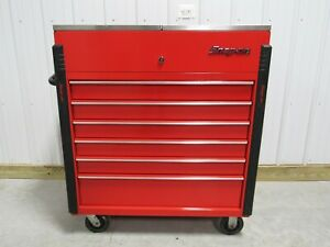 Snap On Red Tool Box Cart Sliding Stainless Steel Work Top
