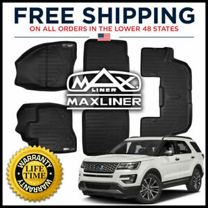Maxfloormat 1st 2nd W O Console 3rd Row Floor Mats Black For 2015 2016 Explorer