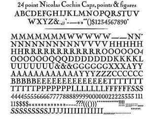New Letterpress Type 24 Point Nicolas Cochin Complete Font