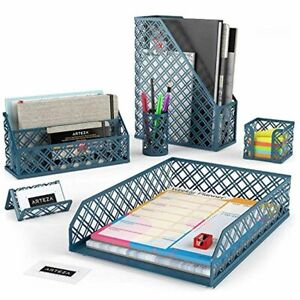 Arteza Desk Organizer Accessories Set In Dark Green 6 piece Includes Pencil Cup