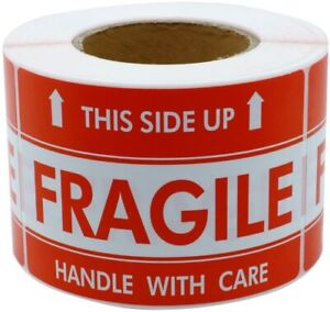 1 Roll 500 Per Roll 3 X 5 Handle With Care Fragile This Side Up Labels Sticker