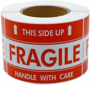 2 Rolls 1000 Labels 3 X 5 Handle With Care Fragile This Side Up Labels Sticker