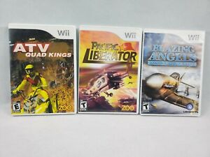 LOT of 3 Wii Games ATV Quad Kings  Pacific Liberator & Blazing Angels Complete!