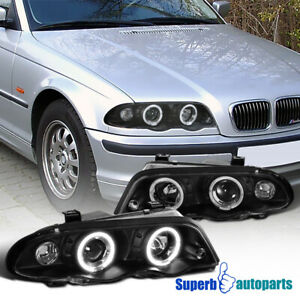 For 1999 2001 Bmw E46 4dr 323i 328i 330i Dual Halo Projector Headlights Black