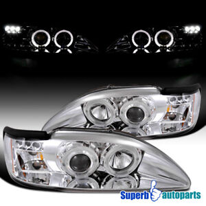 For 1994 1998 Ford Mustang Led Dual Halo Projector Headlights