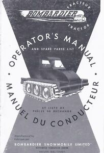 Operator s Manual And Spare Parts List Bombardier J 5 48 Tractor Sidewalk Plow