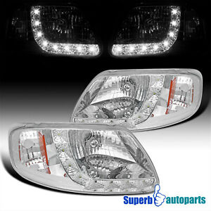 For 1997 2003 Ford F150 2004 Heritage Led Drl Headlights Head Lamps